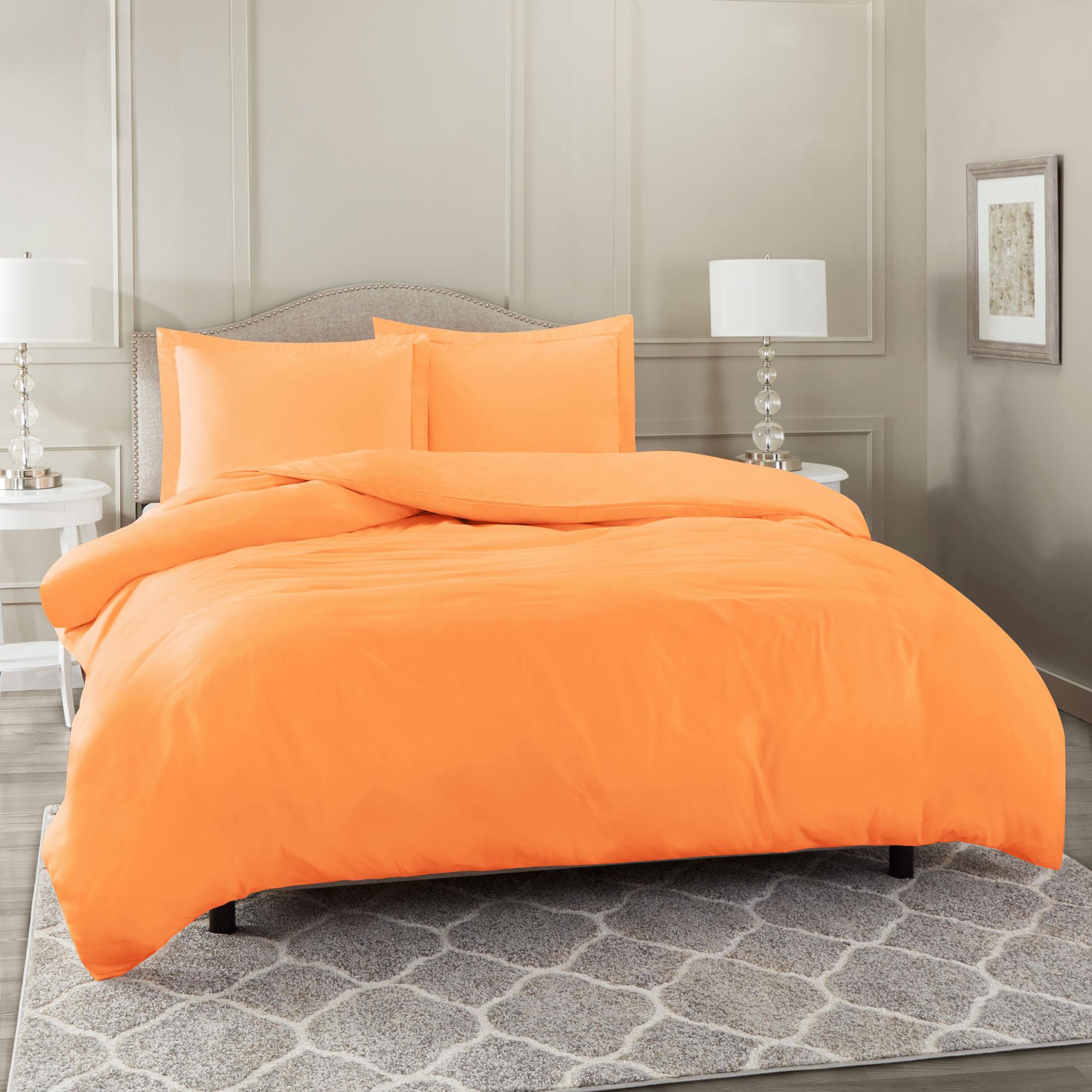 Duvet Cover Set Soft Brushed Comforter W Pillow Sham Light Orange Twin