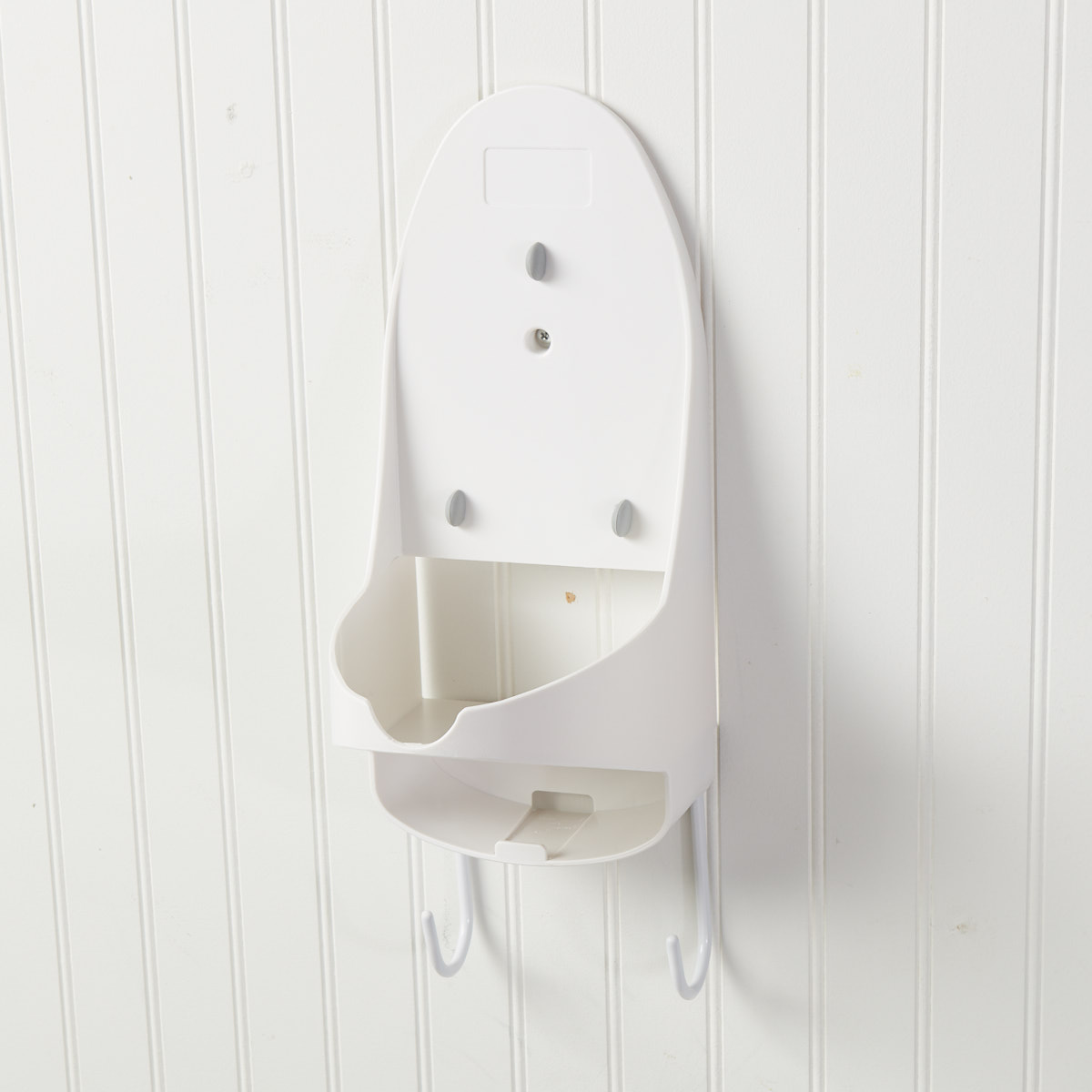 White Wall Mount Bracket Steam Iron Holder with Slot for T-Leg Ironing Board