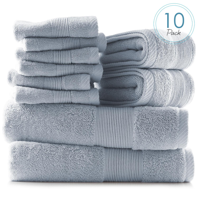 10 Piece Towel Set Ultra Soft 100 Cotton Towels Bath Hand Washcloths Set Ebay
